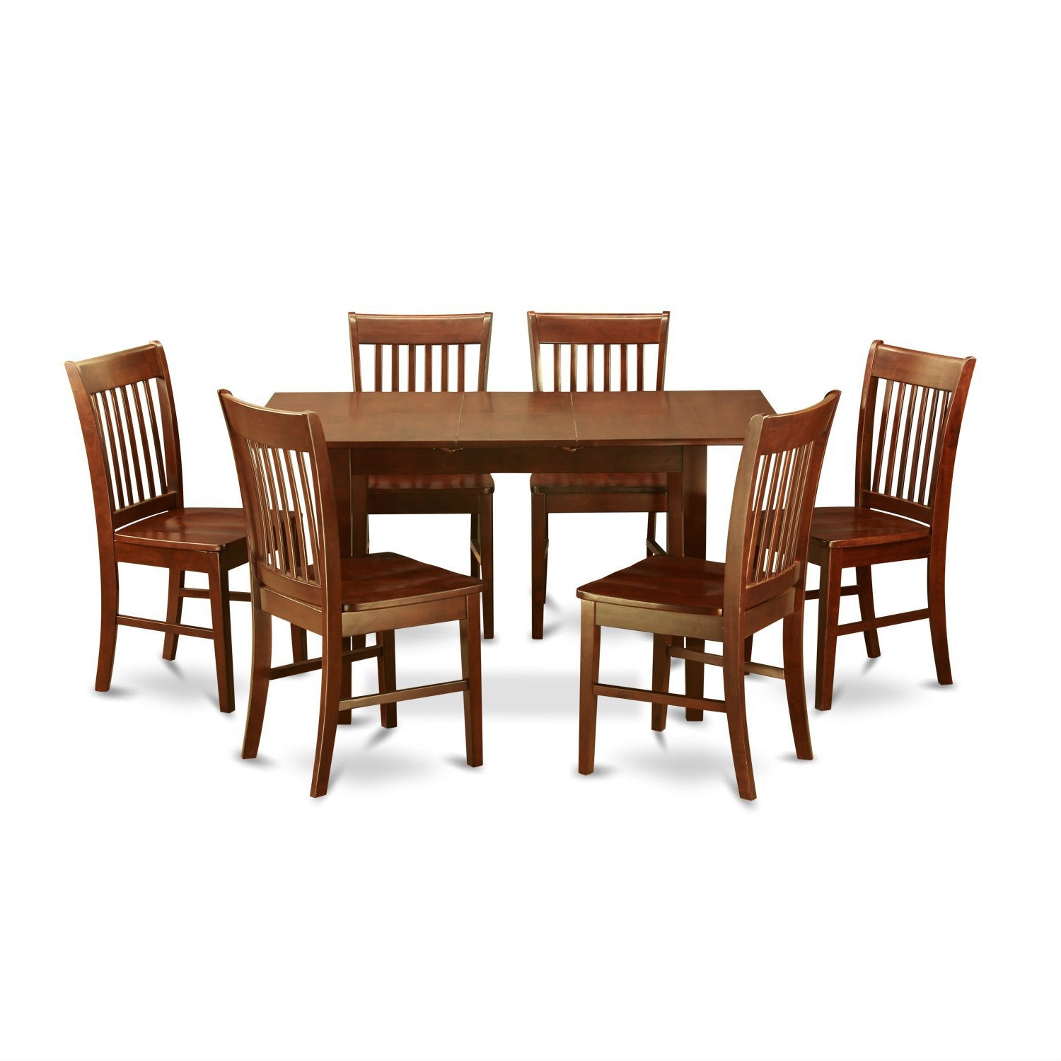 Mission Style 7 Piece Dining Set In Mahogany Wood Finish