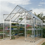 Heavy Duty 8 x 8 Ft Garden Greenhouse Kit with Silver Frame and Clear Panels