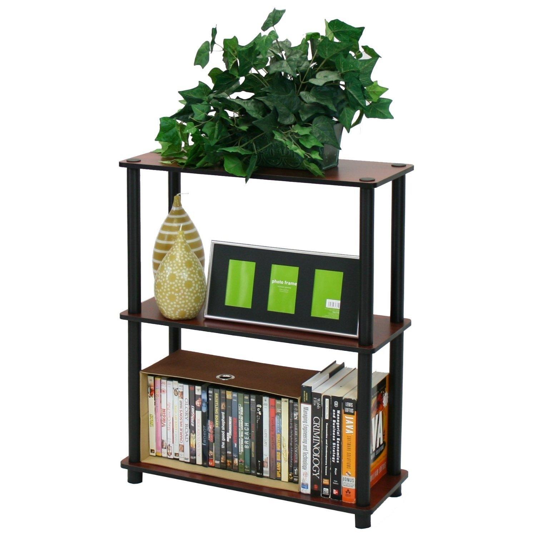 Dark Cherry And Black 3 Tier Shelves Display Bookcase