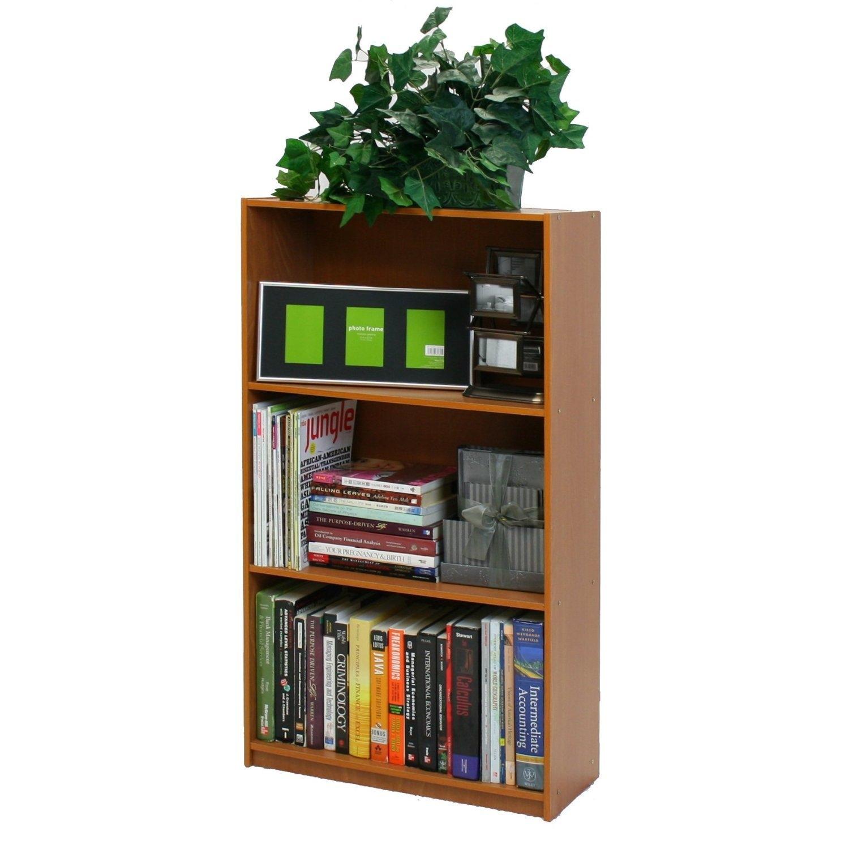 Light Cherry Finish 3-Tier Storage Shelves Bookcase