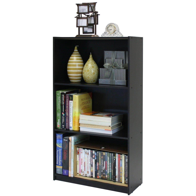 3-Tier Bookcase Storage Shelves in Espresso Finish