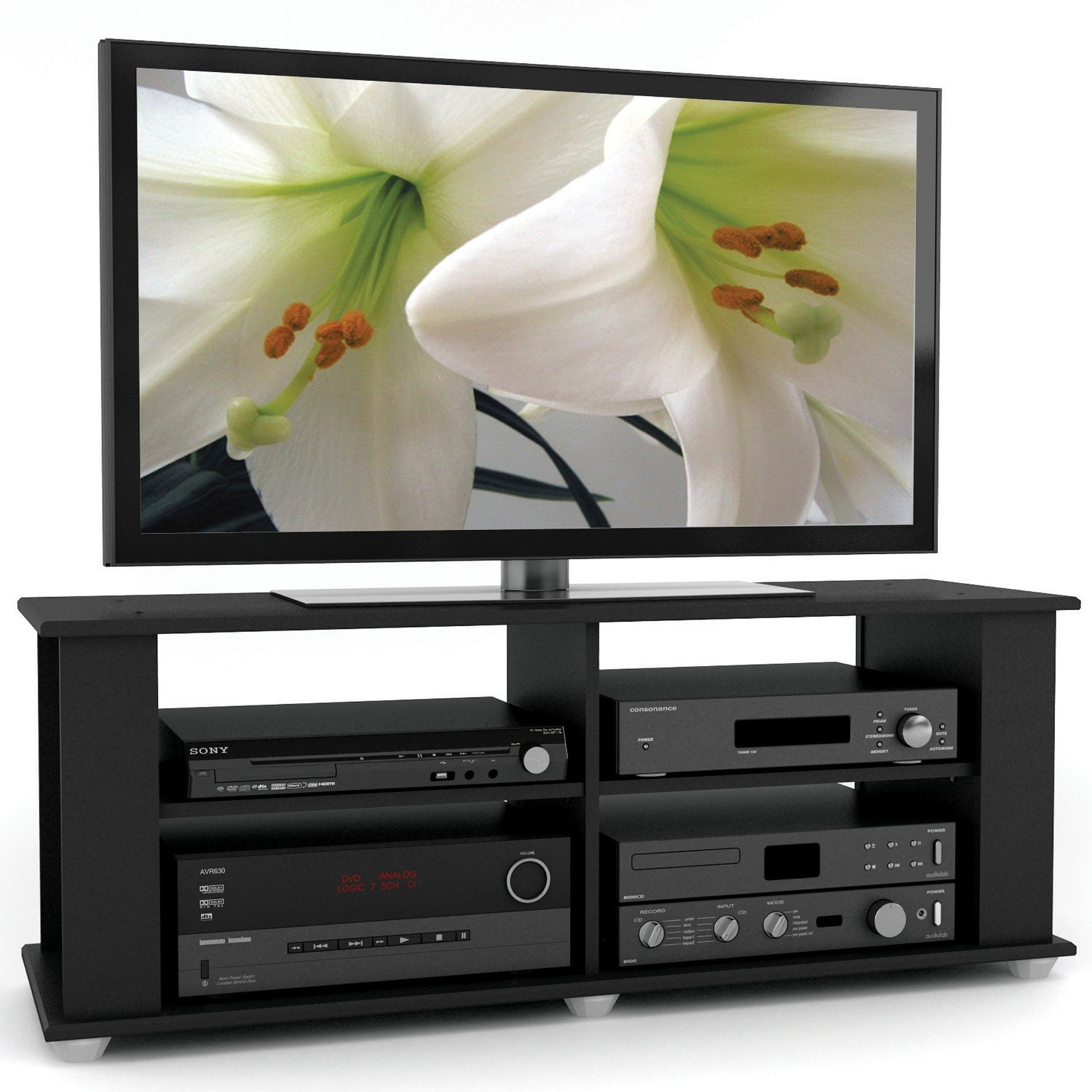 Contemporary Black TV Stand - Fits up to 54-inch TVs