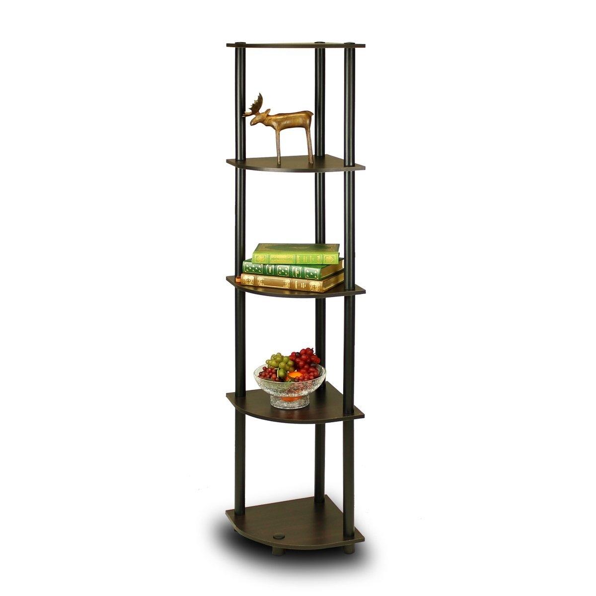 5-Tier Corner Display Shelf Bookcase in Espresso & Black