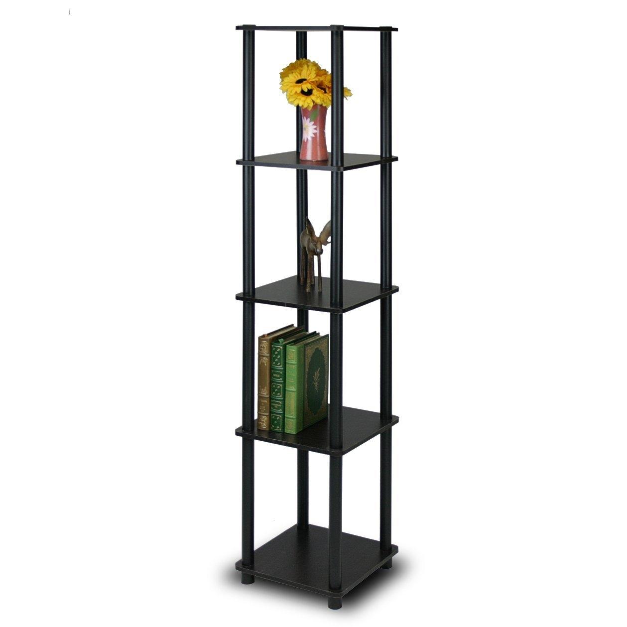 5-Tier Square Corner Display Shelf Bookcase in Espresso/Black