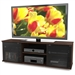 Contemporary Brown TV Stand with Glass Doors - Fits TV's up to 64-inch