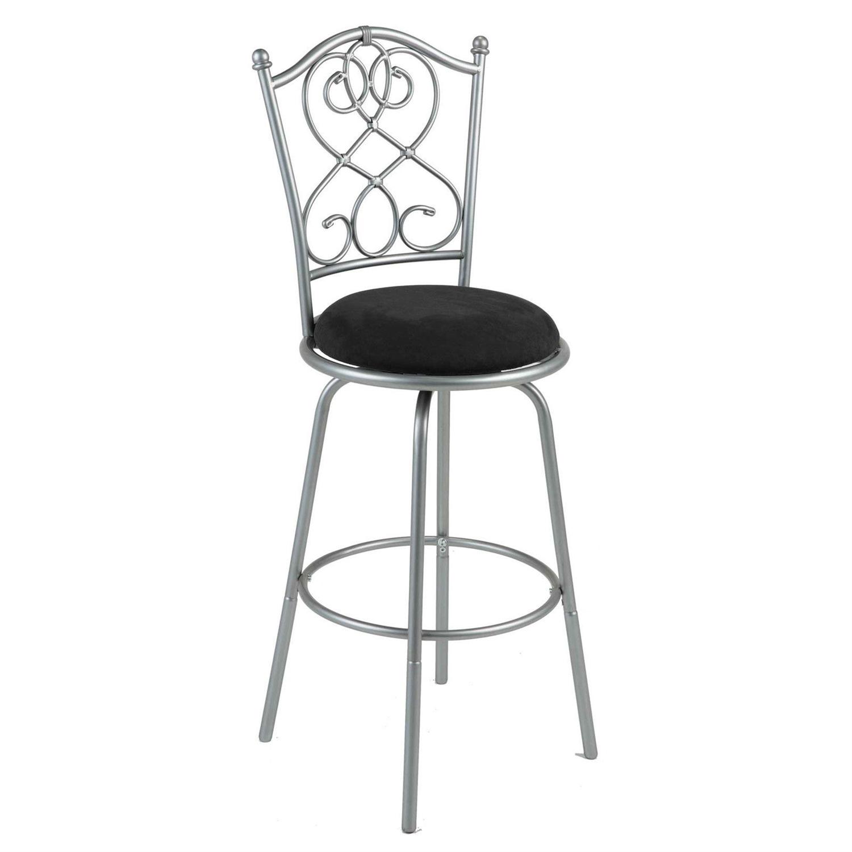 Sensational Brushed Silver Metal 30 Inch Barstool With Black Microfiber Swivel Seat Dailytribune Chair Design For Home Dailytribuneorg