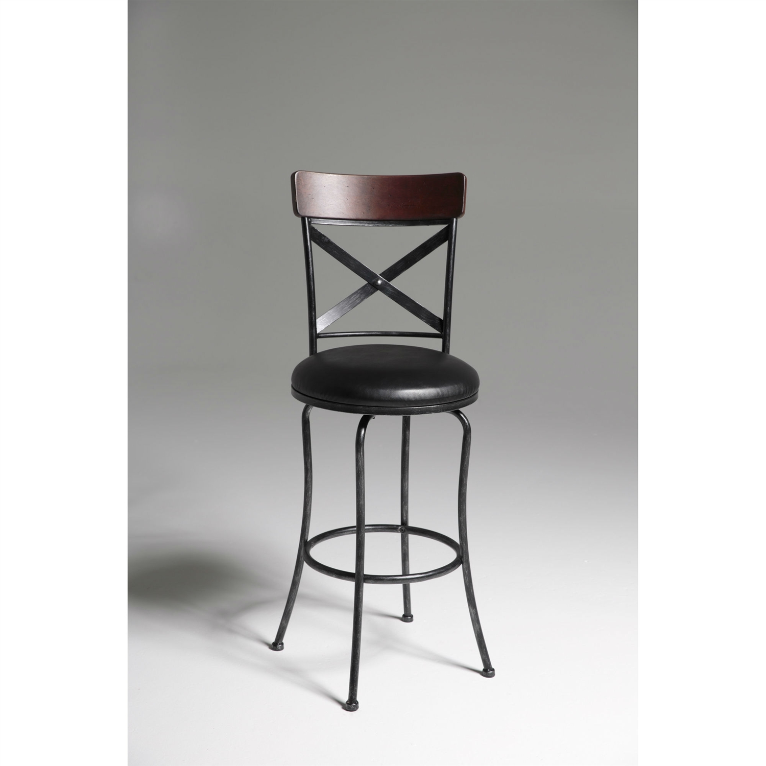Black And Cherry 30 Inch Metal And Wood Bar Stool With Swivel Seat