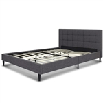 Full size Grey Mid-Century Modern Upholstered Platform Bed Frame with Headboard