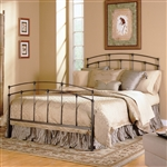 Queen size Metal Bed with Headboard and Footboard in Black Walnut