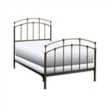 Twin size Metal Bed Frame with Headboard and Footboard in Black Walnut