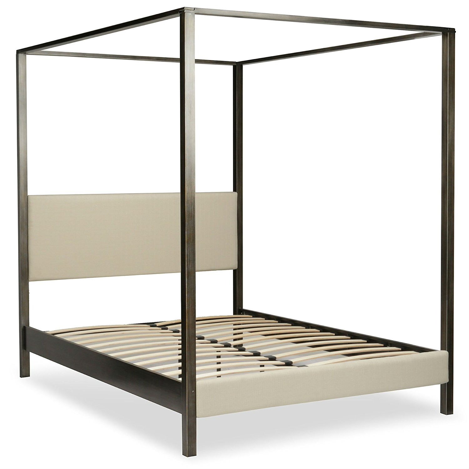 King Size Upholstered Canopy Bed Frame With Wood Slats In Platinum Slate Finish