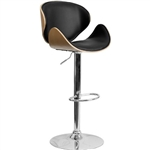 Modern Adjustable Height Barstool with Curved Black Vinyl Seat & Back