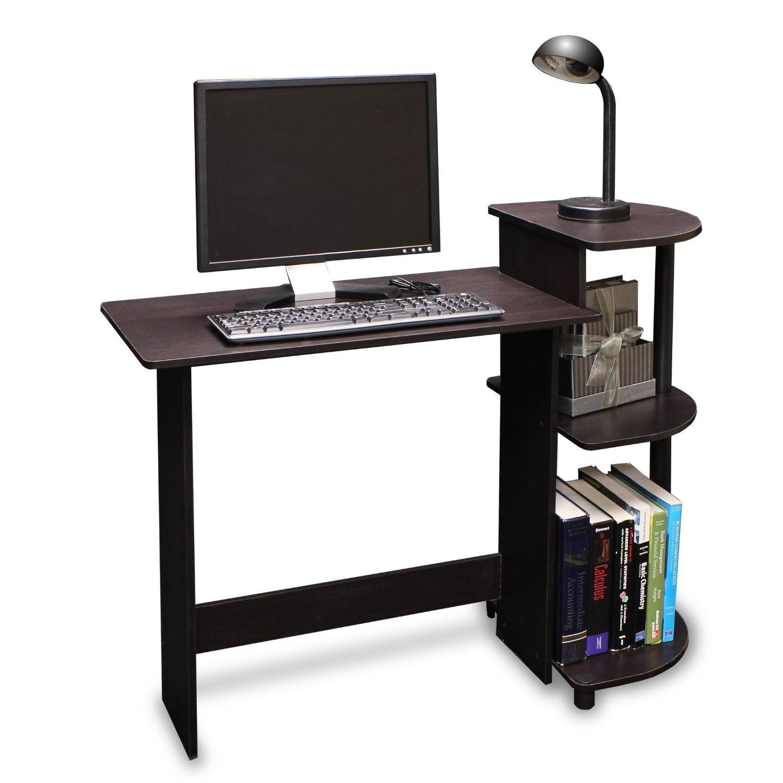 Beau Simple Compact Computer Desk In Espresso Black Finish | FastFurnishings.com