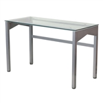 Rectangular Writing Table Office Desk with Clear Tempered Glass Surface