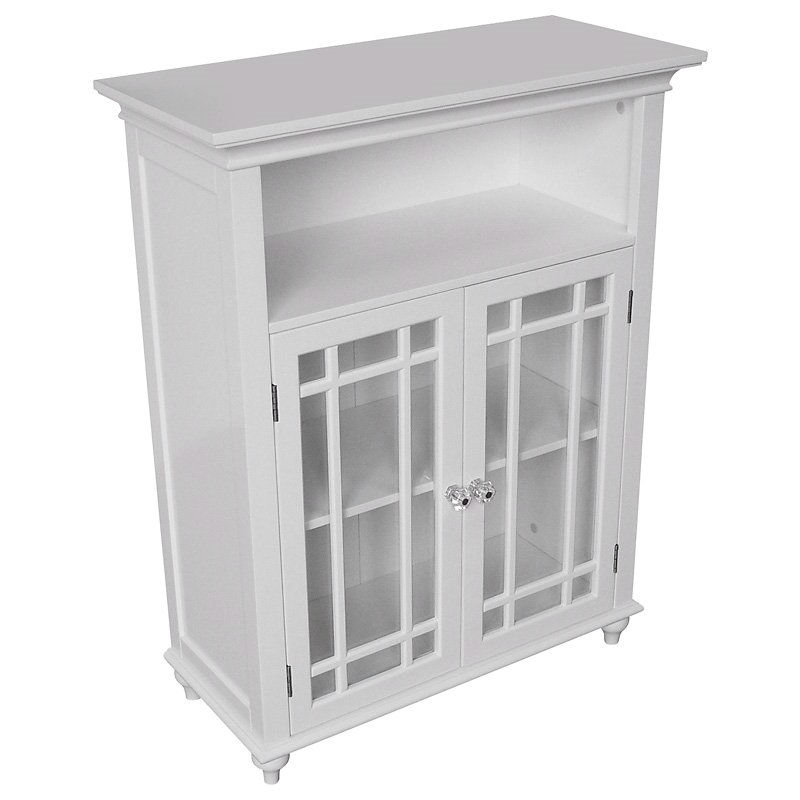 Awesome Classic White Wood 2 Door Bathroom Floor Cabinet With Glass Paneled Doors Home Interior And Landscaping Staixmapetitesourisinfo