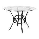 圆形英寸玻璃餐桌,黑色金属框架