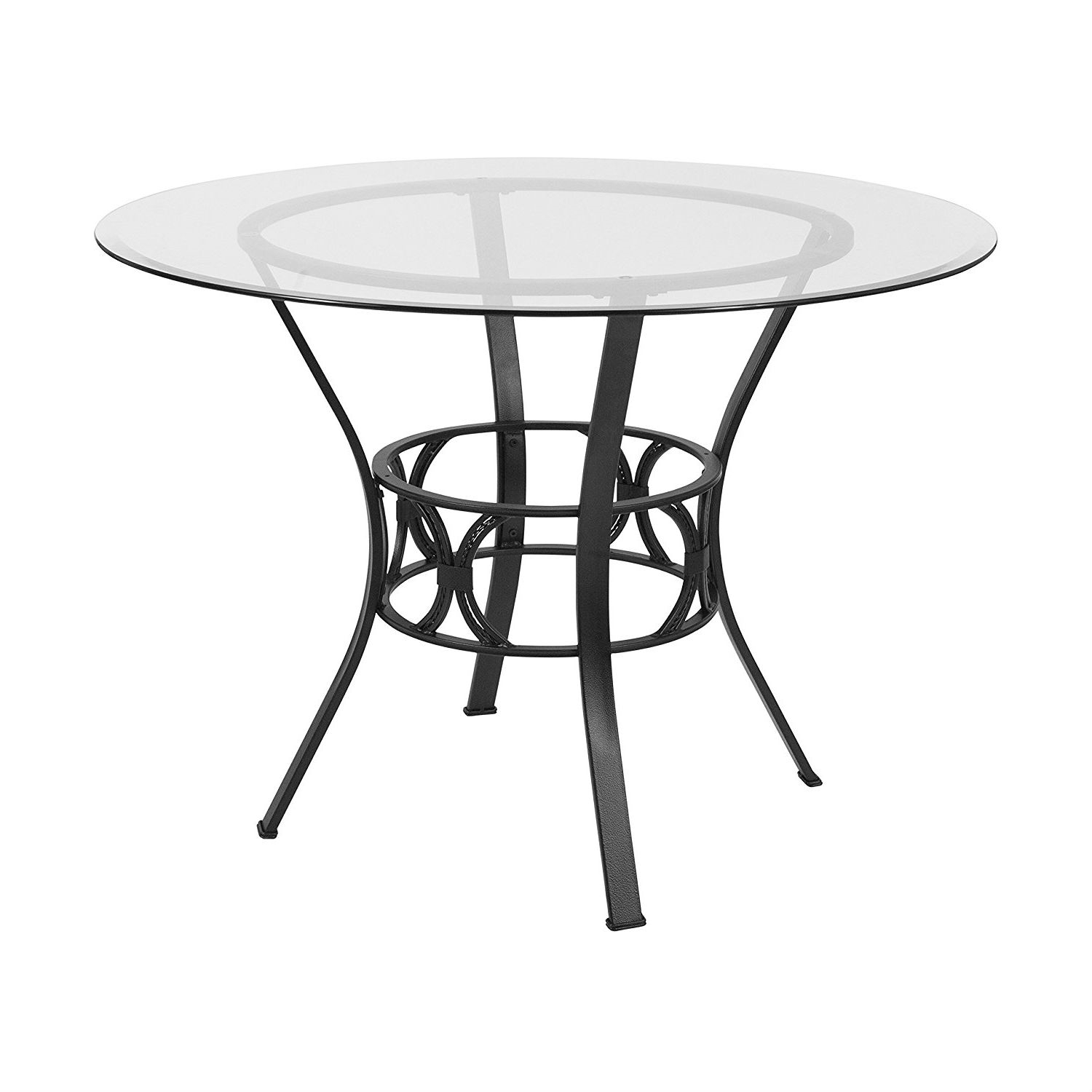 Round 42-inch Glass Dining Table with Metal Frame in Black Finish ...