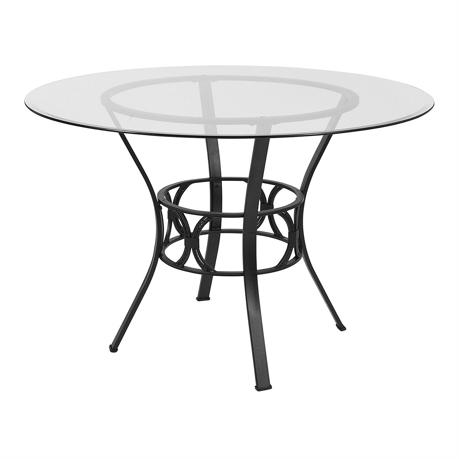 Contemporary 45 Inch Round Gl Dining Table With Black Metal Frame