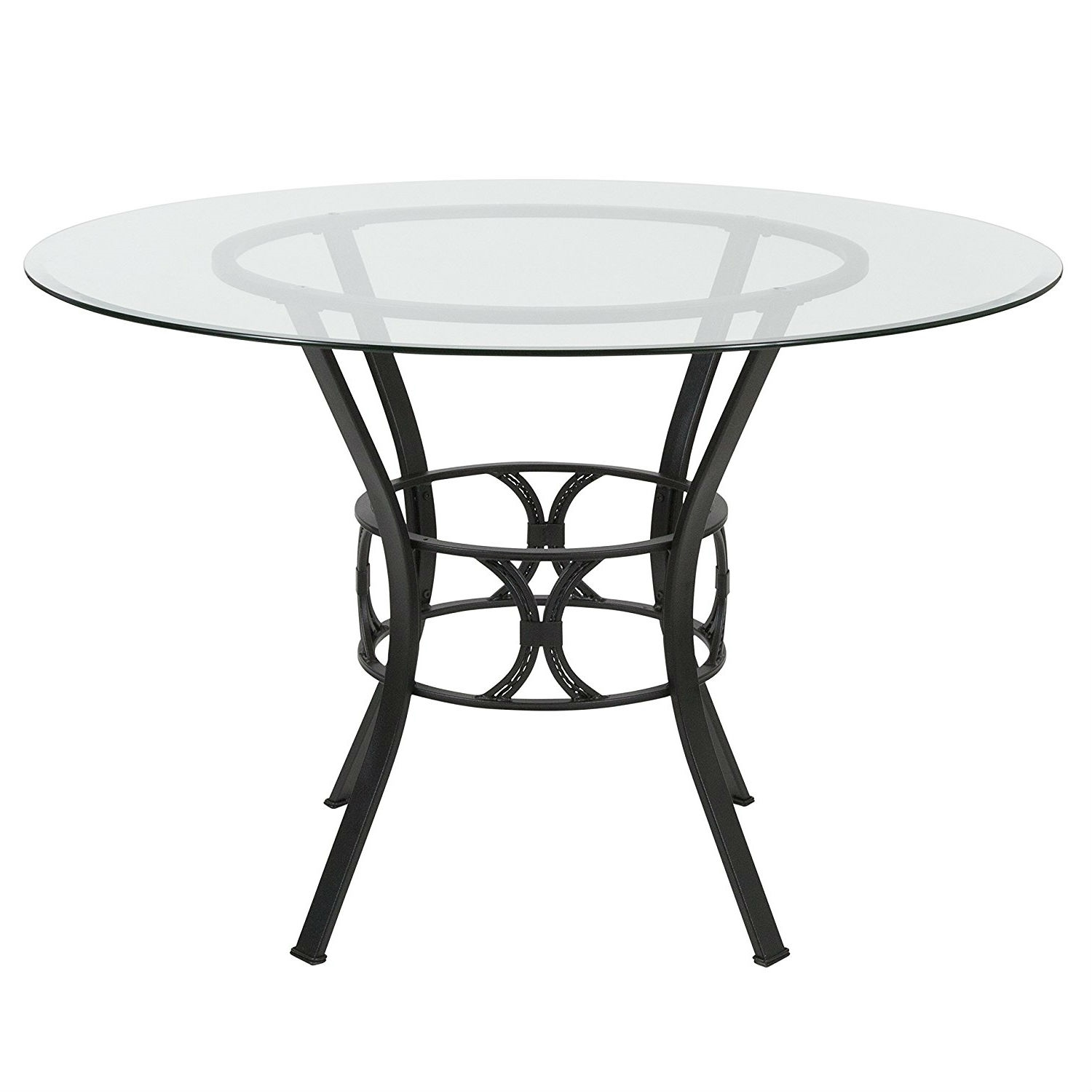 Contemporary 45-inch Round Glass Dining Table with Black Metal Frame | FastFurnishings.com