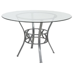 Contemporary 48-inch Round Clear Glass Dining Table with Silver Metal Frame