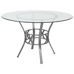 银色金属制当代英寸圆形透明玻璃餐桌