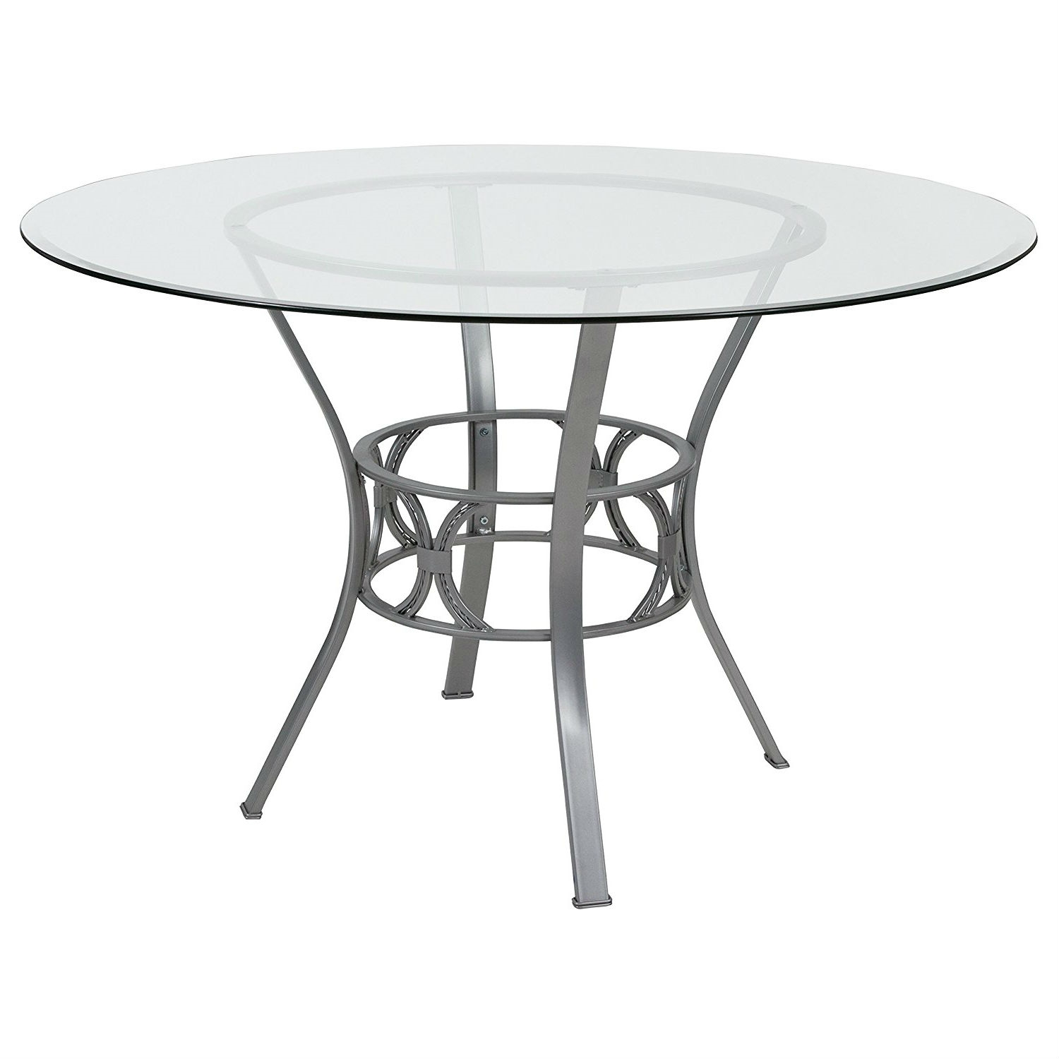 Contemporary Inch Round Clear Glass Dining Table With Silver - 48 inch round contemporary dining table