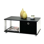 Simple Black and White Coffee Table with Bin Drawer