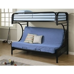 Black Metal Twin over Full Futon Bunk Bed with Built-in Ladder