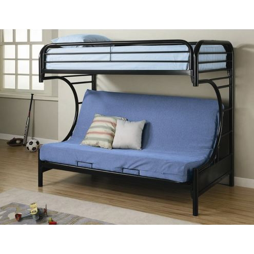 Black Metal Twin Over Full Futon Bunk Bed With Built In Ladder