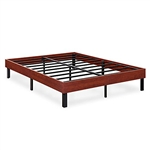 Full size Sturdy Metal Platform Bed Frame with Cherry Finish Wood Sides