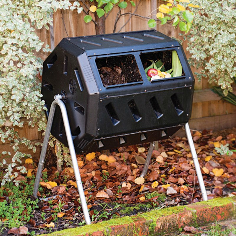 rotating 37 gallon 2 chamber tumbling compost bin tumbler with stand