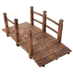 5-Ft Outdoor Fir Wood Garden Bridge with Side Rails in Brown Finish