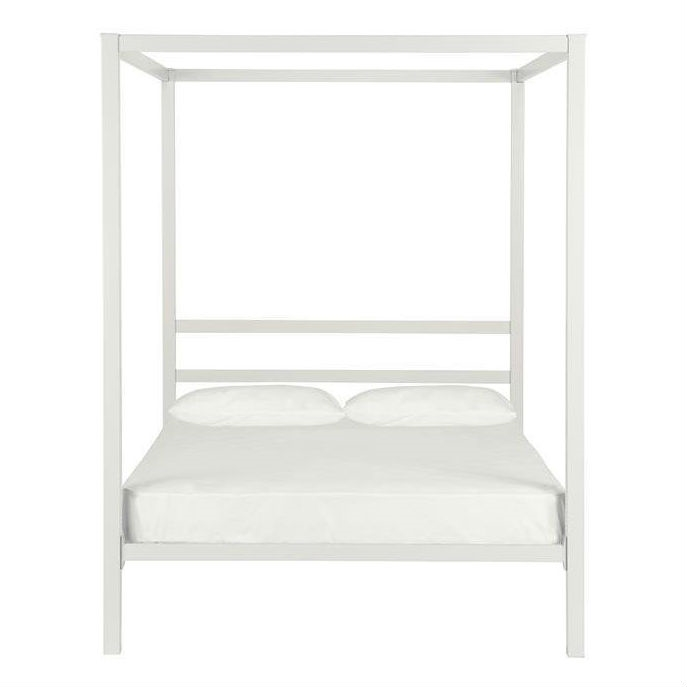 Modern White Metal Canopy Bed Frame