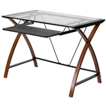 Modern Cherry Finish Glass Top Writing Table Computer Desk with Keyboard Tray