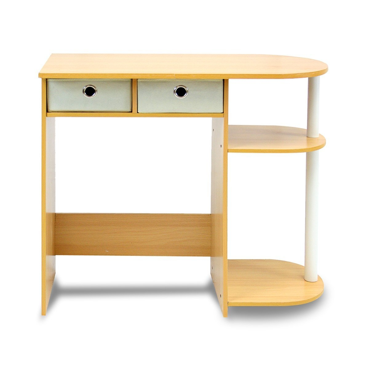Home Office Laptop Computer Desk Table in Beech Ivory