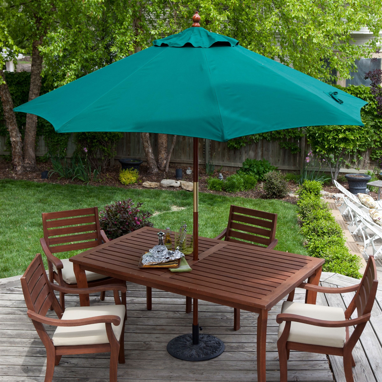 Elegant Commercial Grade 9 Ft Patio Umbrella With Forest Green Sunbrella Canopy