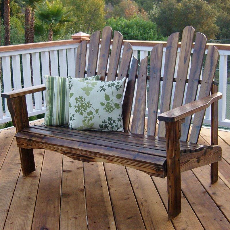 Pleasing Outdoor Garden Bench Loveseat In Burnt Brown Wood Finish Alphanode Cool Chair Designs And Ideas Alphanodeonline