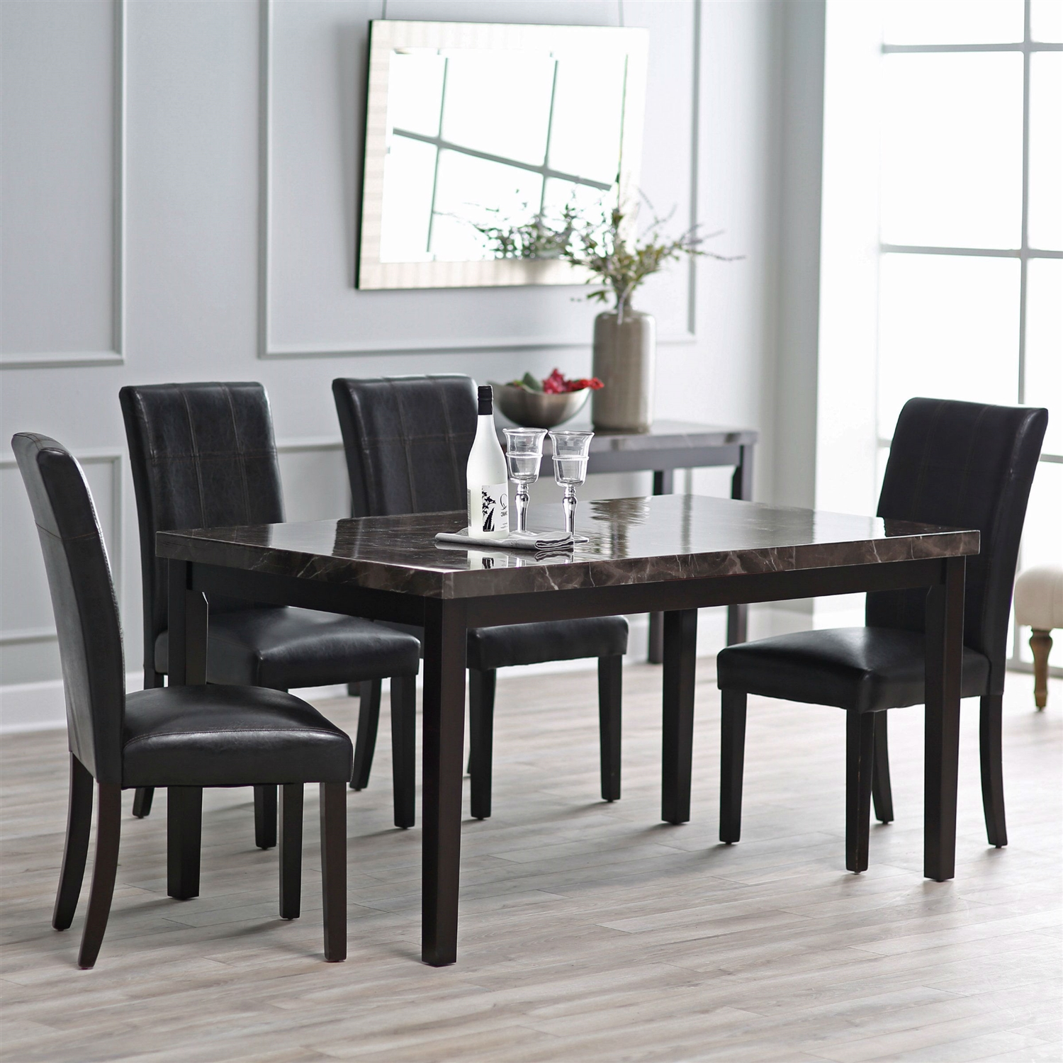 Contemporary 60 X 36 Inch Dining Table With Faux Marble Top Fastfurnishings Com