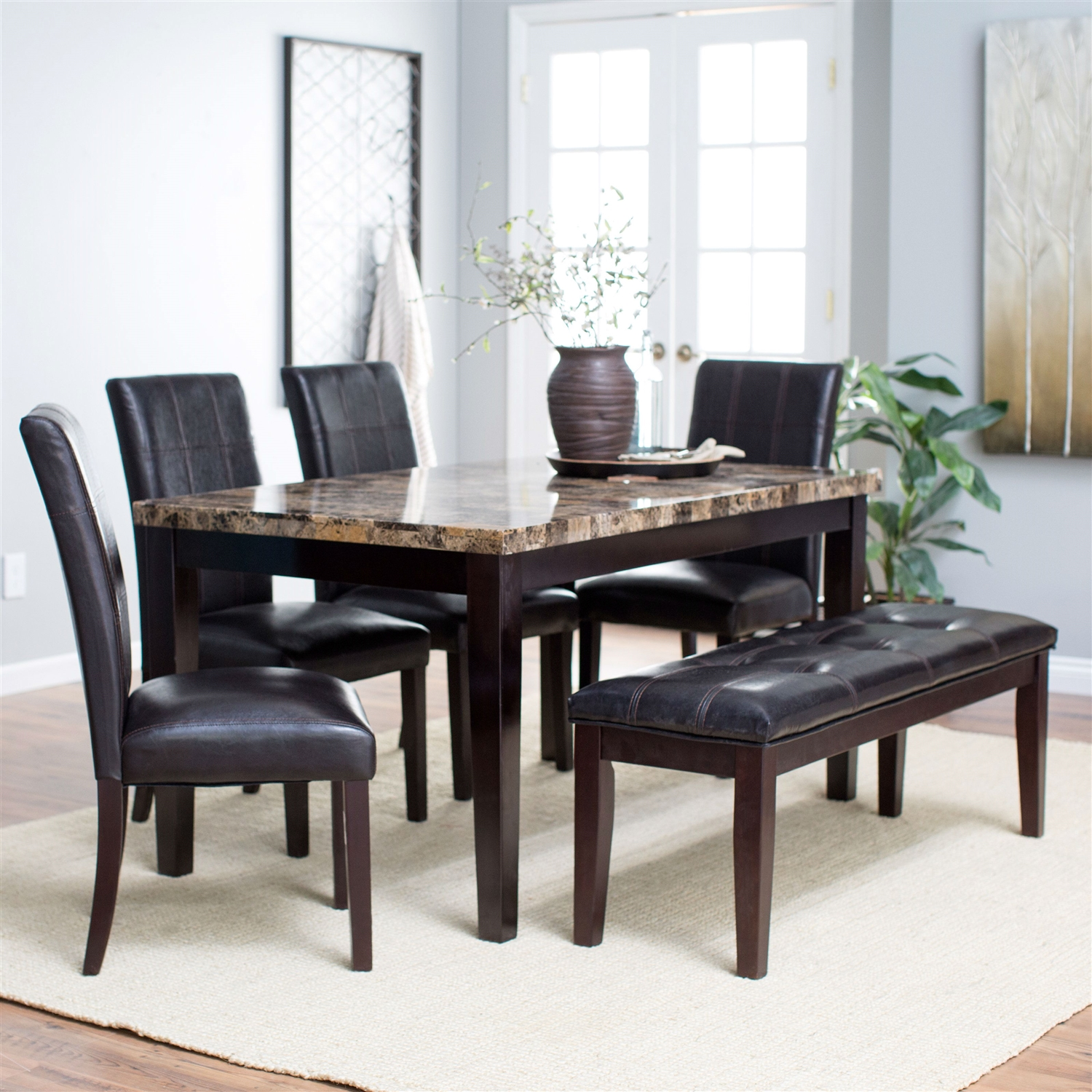 Traditional 6 Piece Dining Set With Faux Marble Top Table 4 Chairs And Bench