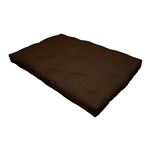 Full size 8-inch Thick Cotton Poly Futon Mattress in Dark Brown