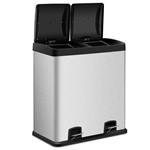 Large 16-Gallon Dual Compartment Kitchen Trash Can with Foot Pedal Open