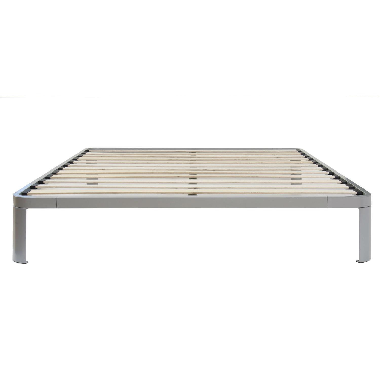 Full size Luna Metal Platform Bed Frame with Wooden Slats ...