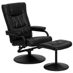 Black Faux Leather Recliner Chair with Swivel Seat and Ottoman