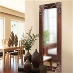 Full Length 63-in Wall Mirror with Quality Wood Frame and Antique Silver Accents