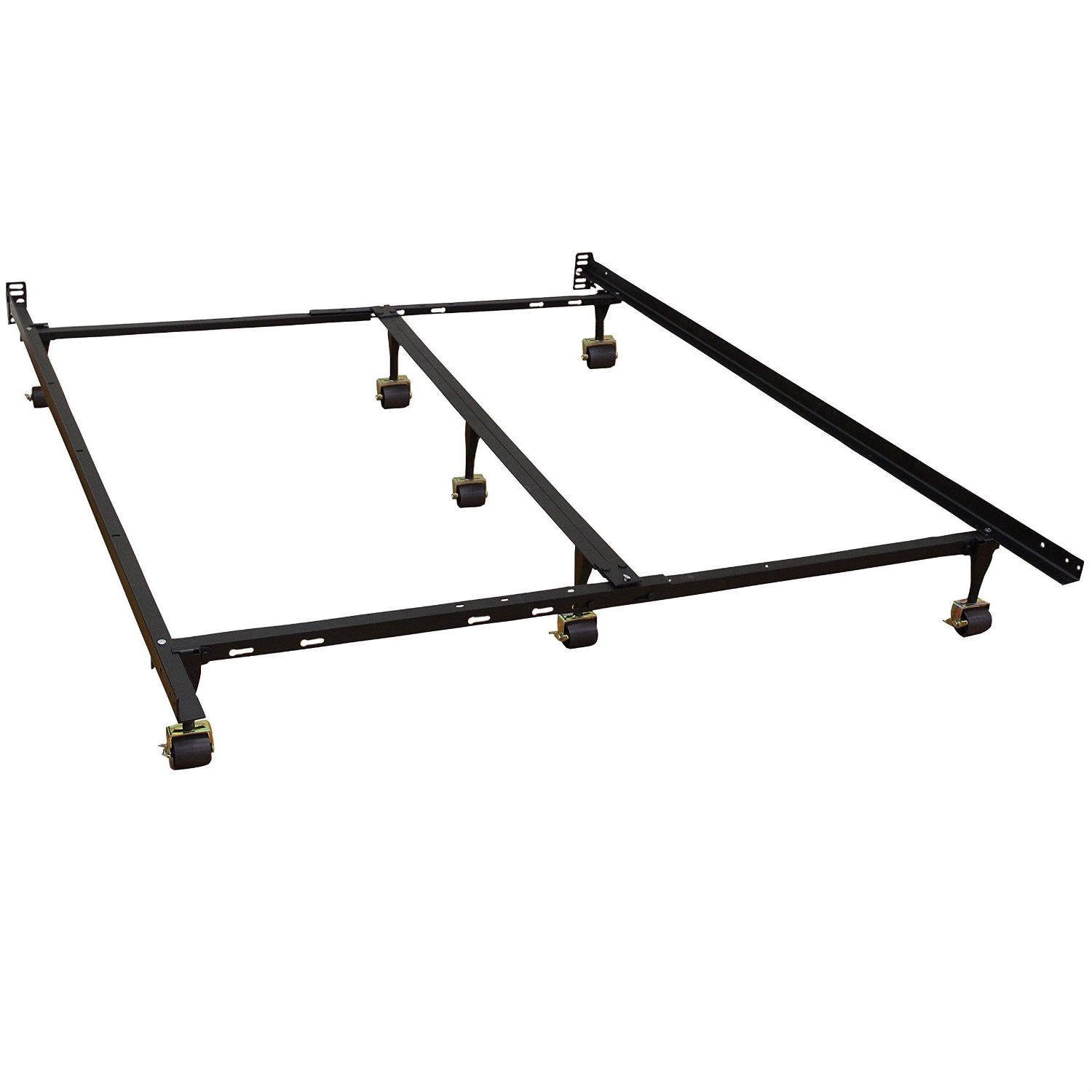 Full Size Sturdy Metal Bed Frame With 7 Legs Locking Casters And Headboard Brackets