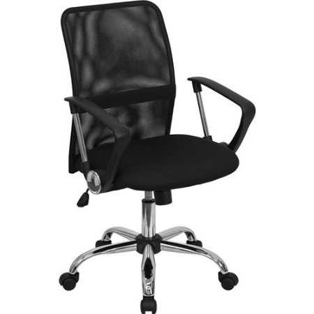 Black Mid-Back Mesh Office Chair with Chrome Finished Base