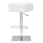 Modern Backless Swivel Adjustable Height Barstool with White Faux Leather Seat