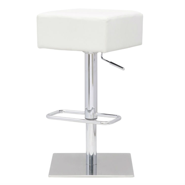 Set of 2 - Modern Backless Swivel Adjustable Height Barstool with White Faux Leather Seat