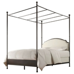 Full size Metal Canopy Bed with Cream White Linen Upholstered Headboard