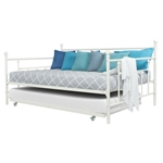 Full size White Metal Daybed with Twin Roll-out Trundle Bed